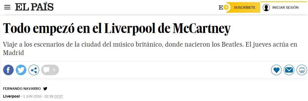 Entrevista realizada por El PAÍS a Liverpool Mágico Tours el 31 de mayo de 2016